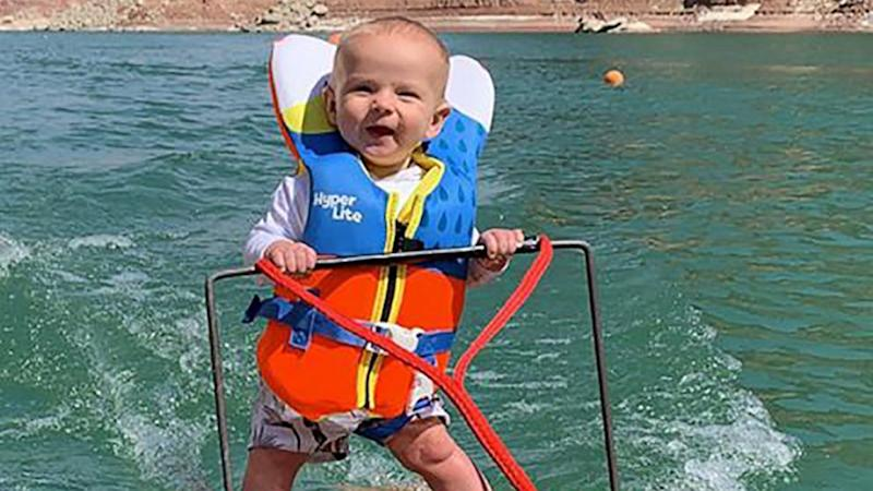 Parents defend viral video of 6-month-old son's waterskiing skills
