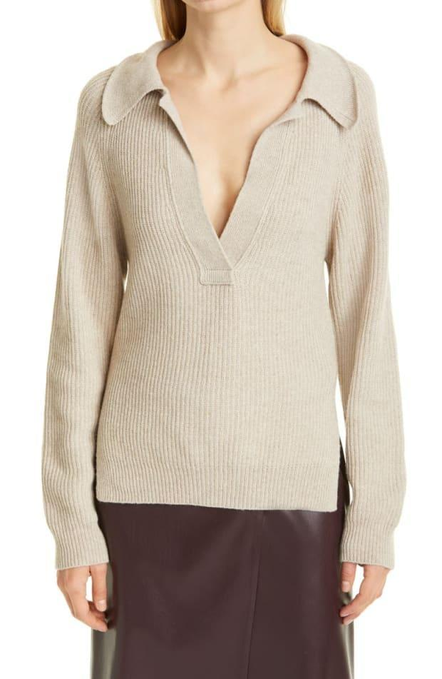 """<p>Nanushka Bambi Polo Neck Ribbed Sweater, $250 (from $375), <a href=""""https://rstyle.me/+LAoHtV4NqiCwFpYW8JN1LA"""" rel=""""nofollow noopener"""" target=""""_blank"""" data-ylk=""""slk:available here"""" class=""""link rapid-noclick-resp"""">available here</a> (sizes XS-XL). </p>"""