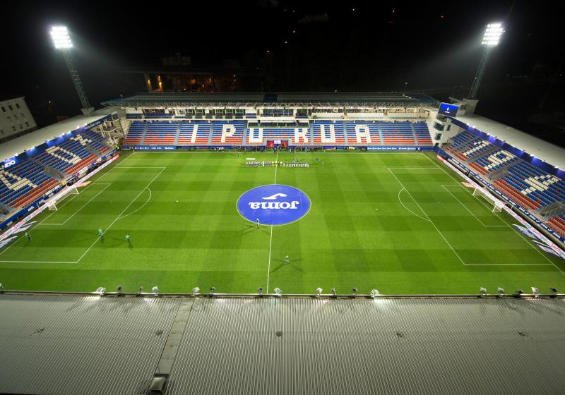 Aerial view taken of the Ipurua stadium in Eibar while the Spanish league football match SD Eibar against Real Sociedad is played behind closed doors in light of the coronavirus outbreak. - Football matches in the top two divisions in Spain and France will be played behind closed doors for at least the next two weeks following the decision by Italy's government to suspend top-flight games until April 3 due to the coronavirus epidemic. (Photo by ANDER GILLENEA / AFP) (Photo by ANDER GILLENEA/AFP via Getty Images)