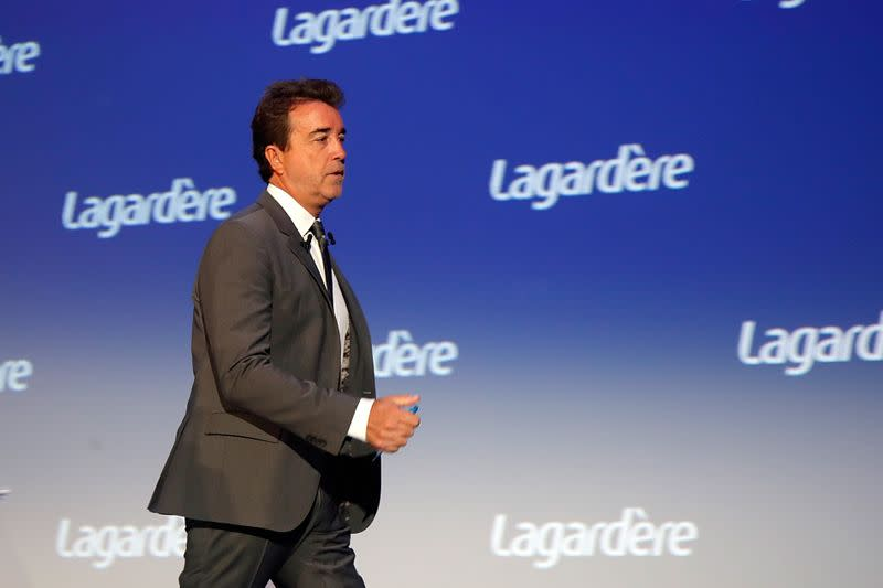 Arnaud Lagardere, the head of French media group Lagardere, attends the group's shareholders meeting in Paris