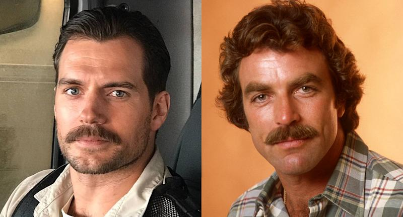 Henry Cavill and Tom Selleck have mastered the mustache. (Photo: Instagram/Getty Images)