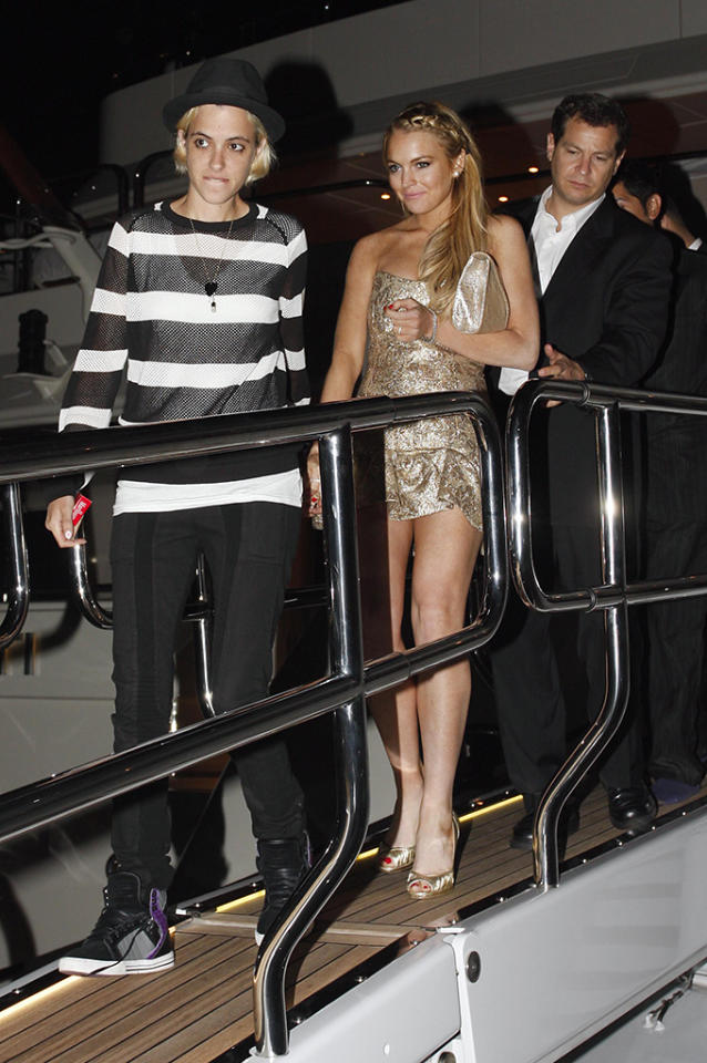 Lindsay Lohan and Samantha Ronson sighted together hand in hand at the P. Diddy yacht party during the Cannes Film Festival, France.