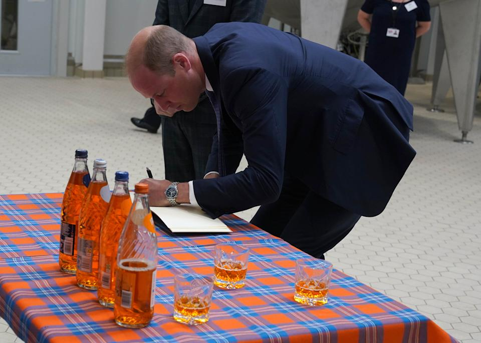 The Duke of Cambridge, known as the Earl of Strathearn in Scotland, during a visit to AG Barr's factory in Cumbernauld, where the drink is manufactured, as part of Queen Elizabeth II's traditional trip to Scotland for Holyrood Week. Picture date: Monday June 28, 2021.