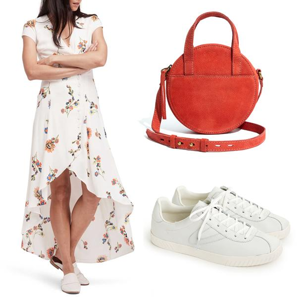 """<p><strong>Buy It!</strong> <em>Clockwise from left:</em>  Free People dress, $128; <a rel=""""nofollow"""" href=""""https://click.linksynergy.com/fs-bin/click?id=93xLBvPhAeE&subid=0&offerid=390098.1&type=10&tmpid=8157&RD_PARM1=https%253A%252F%252Fshop.nordstrom.com%252Fs%252Ffree-people-lost-in-you-midi-dress%252F4826501%253Forigin%253Dcoordinating-4826501-2374331-2-FTR-recbot-recently_viewed_snowplow_mvp%2526recs_placement%253DFTR%2526recs_strategy%253Drecently_viewed_snowplow_mvp%2526recs_source%253Drecbot%2526recs_page_type%253Dcategory&u1=POFASselenagomezKPAPR18"""">nordstrom.com</a>  Madewell bag, $118; <a rel=""""nofollow"""" href=""""http://www.anrdoezrs.net/links/8029122/type/dlg/sid/POFASselenagomezKPAPR18/https://www.madewell.com/madewell_category/BAGS/crossbodybags/PRDOVR~H6621/H6621.jsp?color_name=parched-terracotta"""">madewell.com</a>  Tretorn sneakers, $85; <a rel=""""nofollow"""" href=""""http://www.anrdoezrs.net/links/8029122/type/dlg/sid/POFASselenagomezKPAPR18/https://www.jcrew.com/p/womens_category/shoes/sneakers/womens-tretorn-camden-iridescent-laceup-sneakers/H6002?color_name=white"""">jcrew.com</a></p>"""