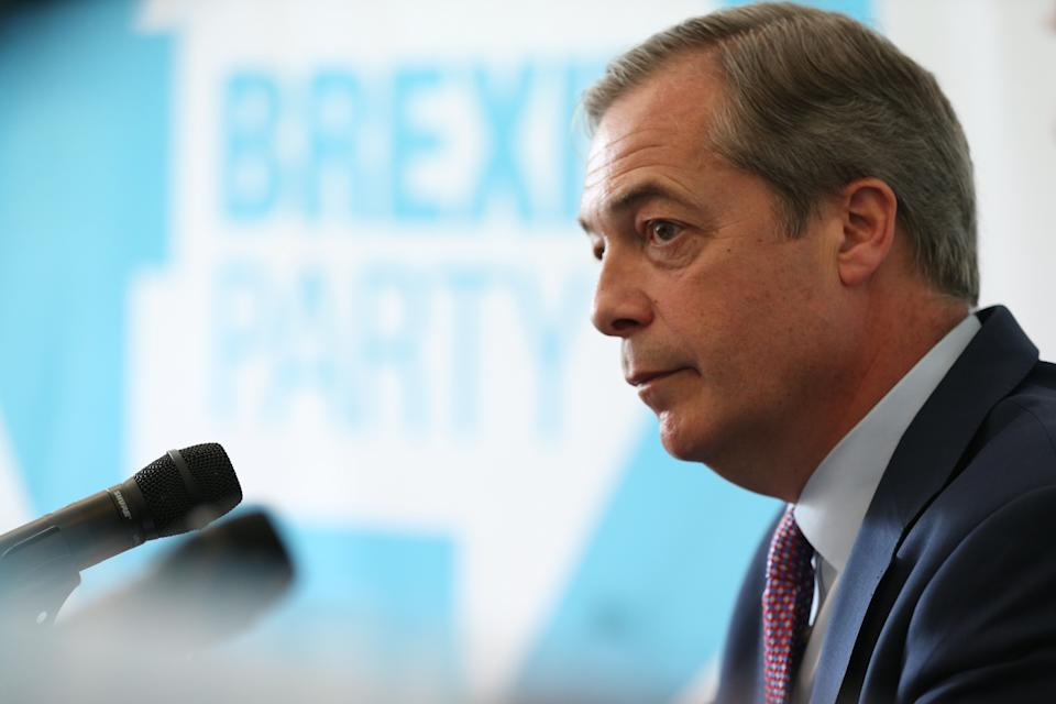 Nigel Farage during his Brexit Party's first press conference of the European Election campaign (Picture: PA)