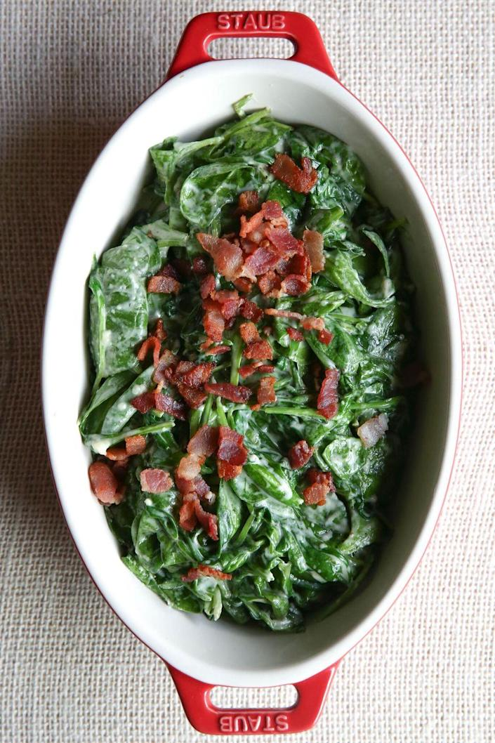 """<p>Whatever you feel about creamed spinach, let bacon change it.</p><p>Get the recipe from <a href=""""https://www.delish.com/cooking/recipe-ideas/recipes/a50723/creamed-bacon-spinach-recipe/"""" rel=""""nofollow noopener"""" target=""""_blank"""" data-ylk=""""slk:Delish"""" class=""""link rapid-noclick-resp"""">Delish</a>.<em><strong><strong><em><br></em></strong></strong></em><br></p>"""