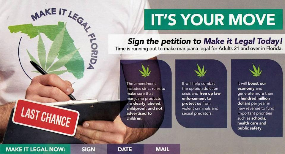 This pitch for voters to support a ballot initiative to legalize marijuana was sent by mail to voters.