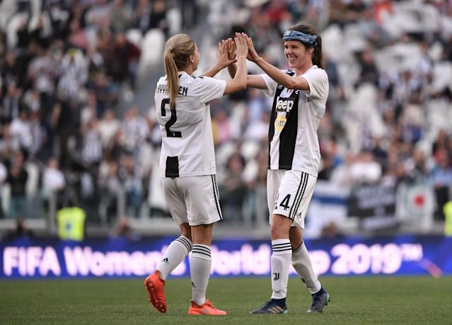 "<a class=""link rapid-noclick-resp"" href=""/soccer/teams/juventus/"" data-ylk=""slk:Juventus"">Juventus</a> midfielder Sofie Junge Pedersem, right, celebrates with defender Tuija Hyyrynen after beating <a class=""link rapid-noclick-resp"" href=""/soccer/teams/fiorentina/"" data-ylk=""slk:Fiorentina"">Fiorentina</a> on Sunday in Turin. (Getty)"