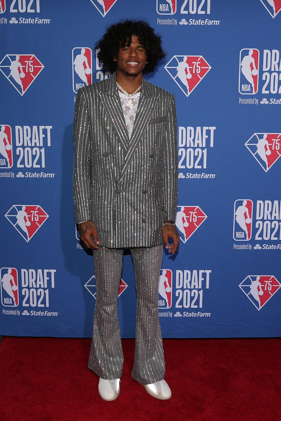 Jalen Green (G League Ignite) arrives on the red carpet before the 2021 NBA draft at Barclays Center. (Brad Penner/USA TODAY Sports)