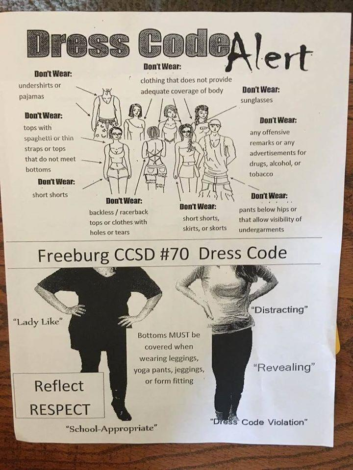 This is the flyer that middle-school students got while registering for classes this week in Freeburg, Illinois. (Photo: Facebook/KDSK)