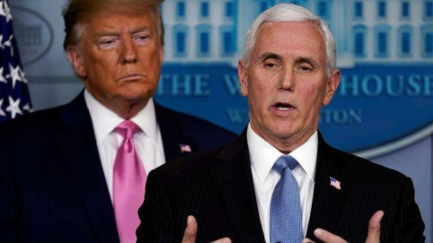 PHOTO: Vice President Mike Pence speaks as President Donald Trump listens during a news conference about the coronavirus in the Brady Press Briefing Room of the White House, Feb. 26, 2020, in Washington. (Evan Vucci/AP)
