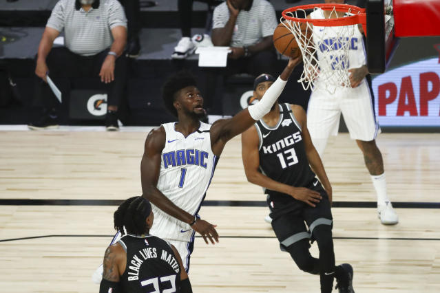 Orlando Magic forward Jonathan Isaac went down with a left knee injury on Sunday afternoon against Sacramento. (Kim Klement-Pool/Getty Images)