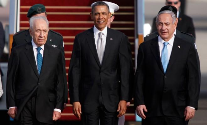 President Obama is flanked by Israeli President Shimon Peres (left) and Prime Minister Benjamin Netanyahu before his departure from the Holy Land.