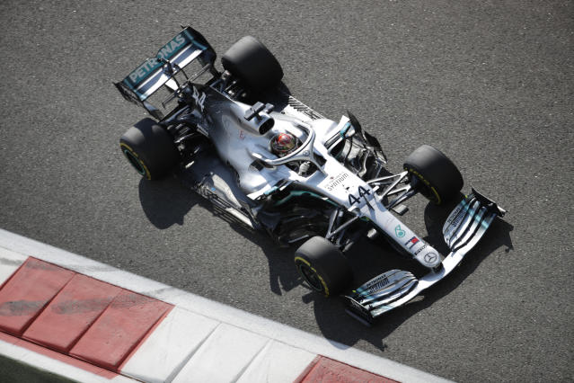 Mercedes driver Lewis Hamilton of Britain steers his car during the first free practice at the Yas Marina racetrack in Abu Dhabi, United Arab Emirates, Friday, Nov. 29, 2019. The Emirates Formula One Grand Prix will take place on Sunday. (AP Photo/Luca Bruno)