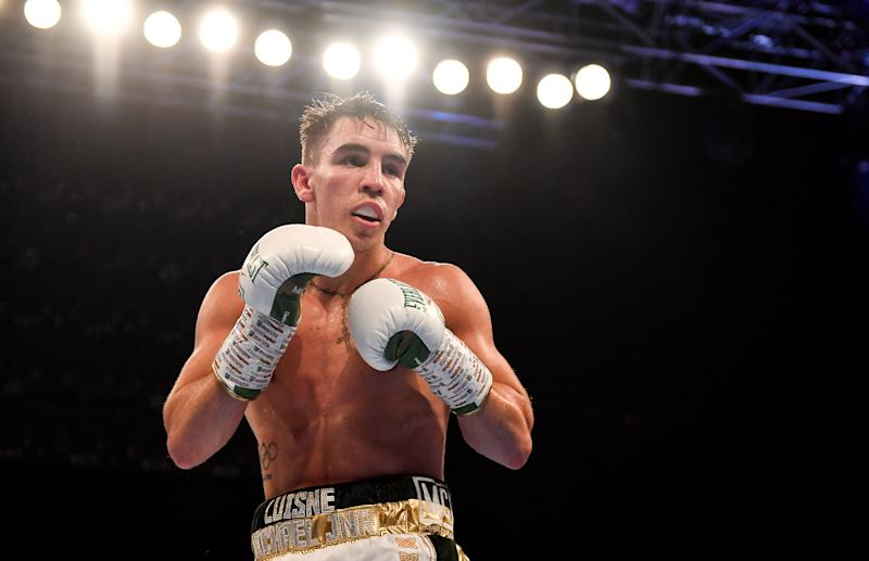 Antrim , United Kingdom - 3 August 2019; Michael Conlan during his WBA and WBO Inter-Continental Featherweight title bout against Diego Alberto Ruiz at Falls Park in Belfast. (Photo By Ramsey Cardy/Sportsfile via Getty Images)
