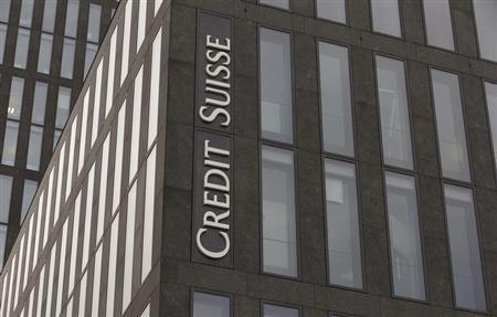 The logo of Swiss bank Credit Suisse is seen at an an office building in Zurich
