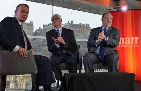 Alistair Darling (C), the leader of the campaign to keep Scotland part of the United Kingdom, appears with Scotland's First Minister Alex Salmond (R) on the BBC's Andrew Marr Show in Edinburgh, this photograph received via the BBC in London September 14, 2014. REUTERS/Jeff Overs/BBC/Handout via Reuters