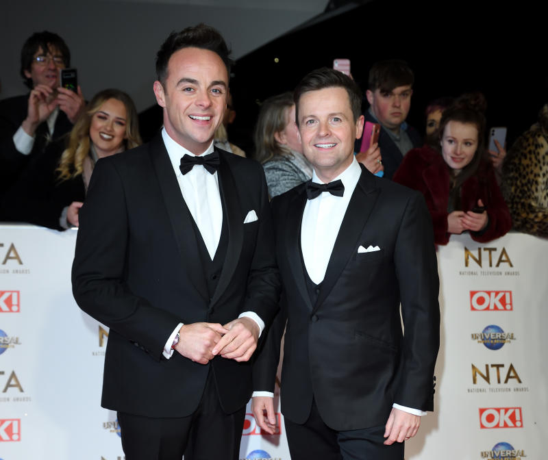 LONDON, ENGLAND - JANUARY 28: Anthony McPartlin and Declan Donnelly attend the National Television Awards 2020 at The O2 Arena on January 28, 2020 in London, England. (Photo by Karwai Tang/WireImage)