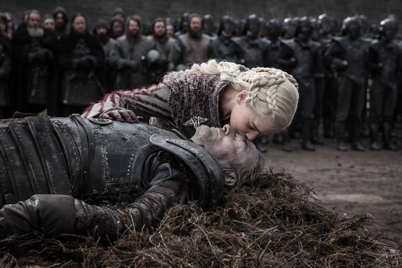 """<p>Whether you're Team Daenarys or <a href=""""https://www.popsugar.com/entertainment/Who-Kill-Daenerys-Game-Thrones-46148297"""" >Team Kill the Mad Queen</a>, it was hard for us not to turn on the waterworks when <a href=""""https://www.popsugar.com/entertainment/Jorah-Mormont-Dead-Game-Thrones-46081378"""" >Ser Jorah Mormont gives his life</a> to protect the Mother of Dragons during the Battle of Winterfell. We've been well aware she is the love of his life since early on in the series, so when he does everything in his power to protect her from a throng of wights, the emotions certainly started flowing. </p> <p>We knew from the second we saw him interact with Daenarys that he was going to die some way or another saving her hide. It was inevitable. While we wish we could've seen him go out during a stronger episode (or at least <a href=""""https://www.popsugar.com/entertainment/Game-Thrones-Brightened-Battle-Winterfell-Scenes-46095834"""" >one that was bright enough for us to see</a> what was happening), in the end, Jorah's death is a fair send-off for the longtime character.</p>"""