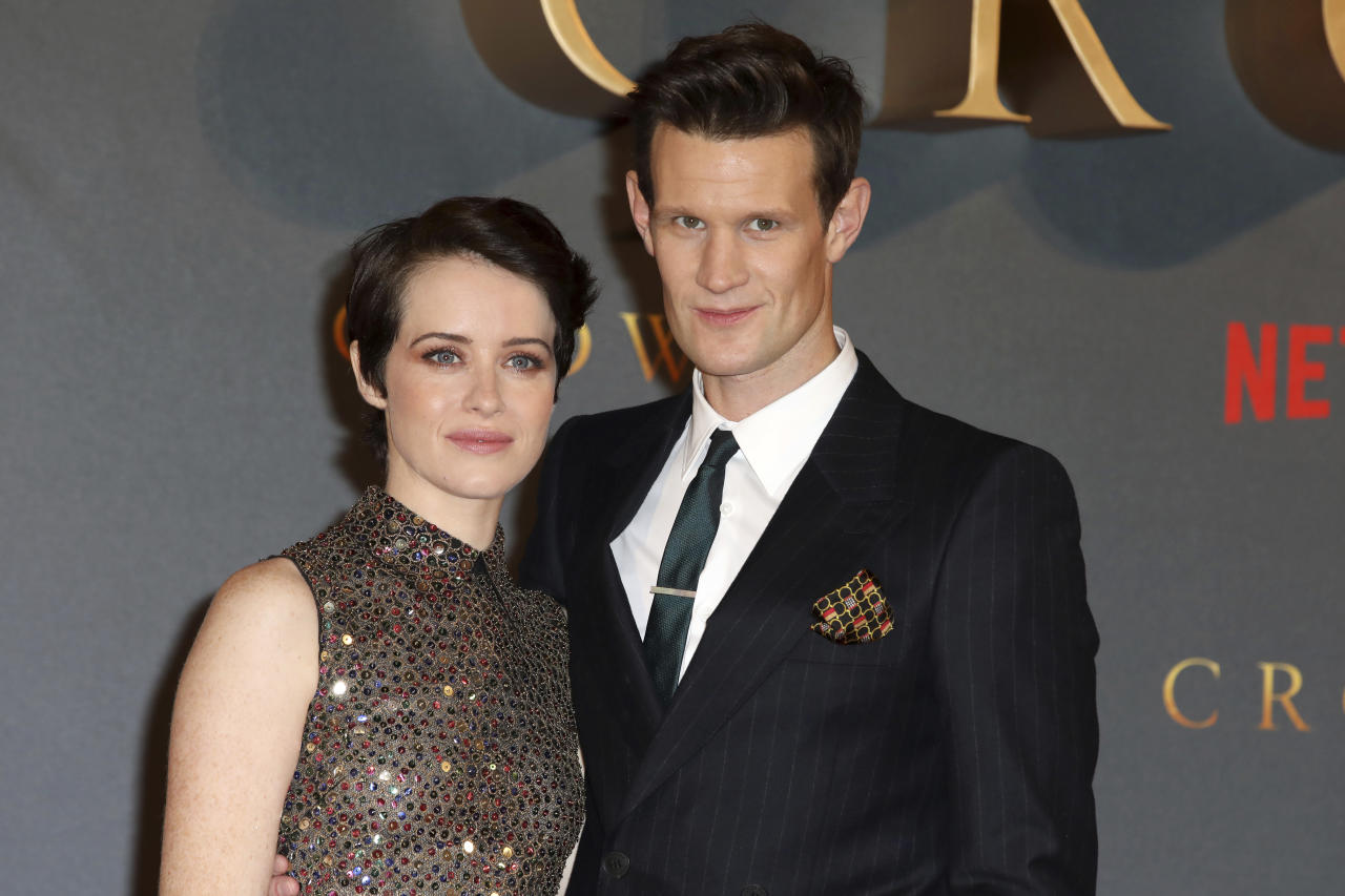 Actors Claire Foy, left, and Matt Smith pose for photographers on arrival at the premiere of series 'The Crown, Season 2' in central London on Tuesday, Nov. 21, 2017. (Photo by Grant Pollard/Invision/AP)