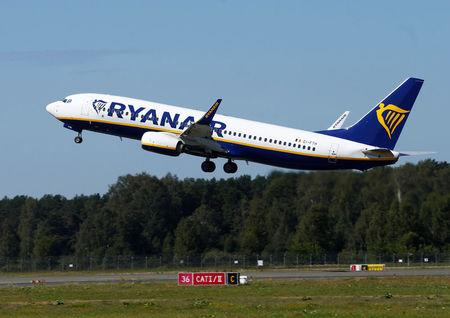 FILE PHOTO: Ryanair Boeing 737-800 aircraft takes off in Riga International Airport