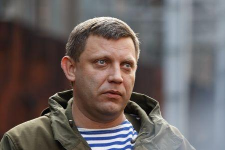 Head of the separatist self-proclaimed Donetsk People's Republic Zakharchenko visits Yuzovsky metallurgical plant in Donetsk