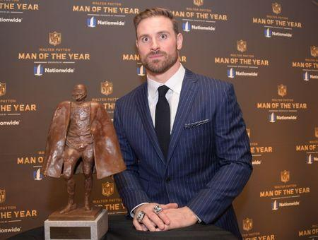 Feb 2, 2019; Atlanta, GA, USA; Walter Payton NFL Man Of The Year winner Chris Long of the Philadelphia Eagles during media availabilities for the NFL Honors show at the Fox Theatre. Mandatory Credit: Kirby Lee-USA TODAY Sports