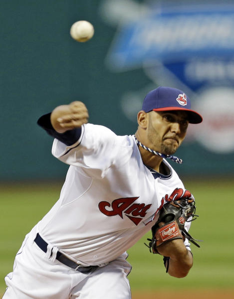 Cleveland Indians starting pitcher Danny Salazar throws against the Chicago White Sox during the first inning of a baseball game, Wednesday, Sept. 25, 2013, in Cleveland. (AP Photo/Tony Dejak)