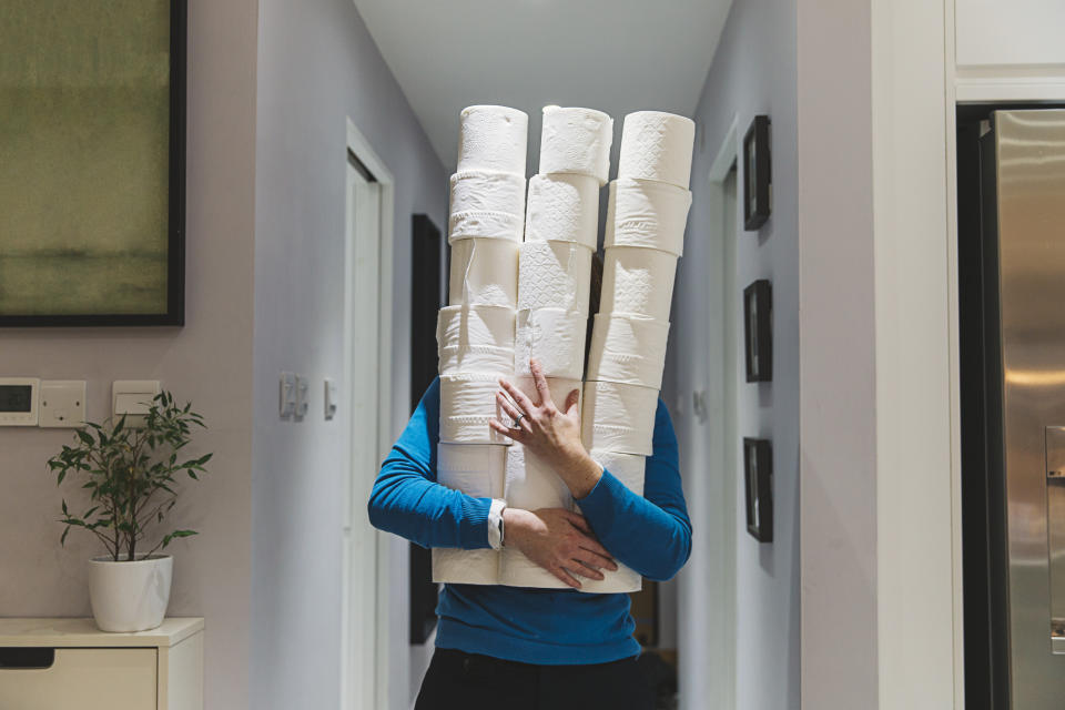 Panic buying and toilet paper were among the most talked about topics in bios in 2020. Photo: Getty