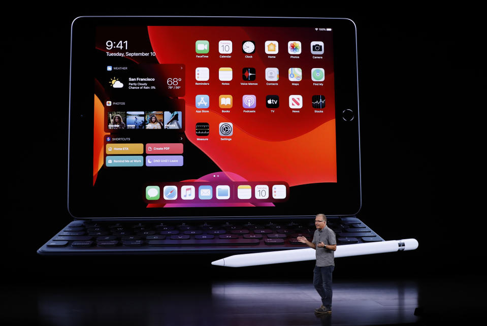 Greg Joswiak, Apple's vice president of Product Marketing, speaks in front of an iPad at an Apple event at their headquarters in Cupertino, California, U.S. September 10, 2019. REUTERS/Stephen Lam
