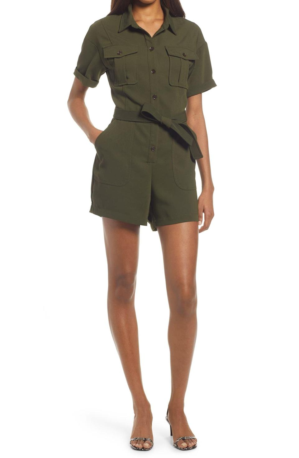 <p>This <span>Adelyn Rae Utility Crepe Romper</span> ($110) features oversized pockets and an adjustable tie belt for an easygoing look.</p>