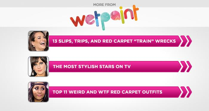 "<br><br><br><br><br><br><a target=""_blank"" href=""http://www.wetpaint.com/network/gallery/celebrity-slips-trips-and-red-carpet-train-wrecks-?utm_source=yahoo.com&utm_medium=syndication&utm_campaign=yahoo"">Slips, Trips, and Red Carpet 'Train' Wrecks</a><br><br><br><br><a target=""_blank"" href=""http://www.wetpaint.com/network/gallery/most-stylish-stars-on-tv?utm_source=yahoo.com&utm_medium=syndication&utm_campaign=yahoo%0A"">The Most Stylish Stars on TV</a><br><br><br><br><a target=""_blank"" href=""http://www.wetpaint.com/network/gallery/top-11-weirdest-and-most-wtf-red-carpet-outfits-of-2011?utm_source=yahoo.com&utm_medium=syndication&utm_campaign=yahoo%0A"">Weird and WTF Red Carpet Outfits of 2011</a>"