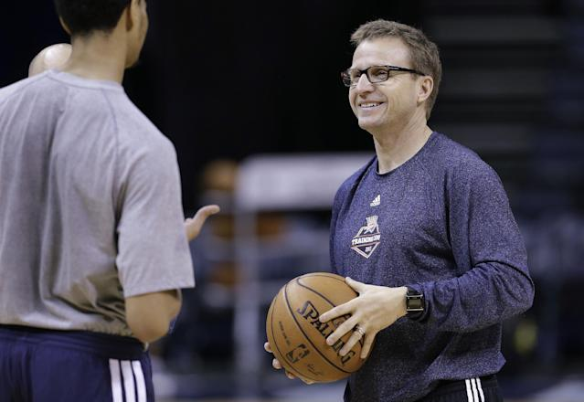 Oklahoma City Thunder coach Scott Brooks talks with guard Jeremy Lamb, left, during practice Friday, April 25, 2014, in Memphis, Tenn. The Thunder face the Memphis Grizzlies on Saturday in Game 4 of their opening-round NBA basketball playoff series. The Grizzlies lead the series 2-1. (AP Photo/Mark Humphrey)