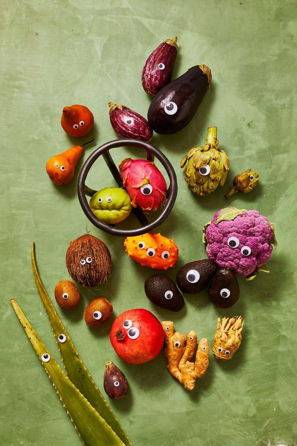 <p>Fruit and veggies, like eggplant, broccoli and kiwis, can easily become Halloween decor with the addition of plastic googly eyes. </p>
