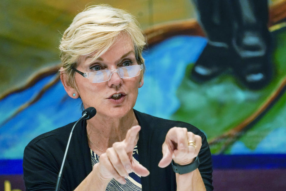FILE - In this June 29, 2021 file photo, Secretary of Energy Jennifer Granholm speaks during a roundtable discussion at the Service Employees International Union 32BJ, in New York. A new federal report say solar energy has the potential to power up to 40% of the nation's electricity within 15 years — a 10-fold increase over current solar output that would require massive changes in U.S. policy and billions of dollars in federal investment to modernize the nation's electric grid. (AP Photo/Mary Altaffer)