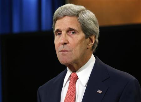 U.S. Secretary of State John Kerry delivers a statement on Ukraine from the State Department press briefing room in Washington