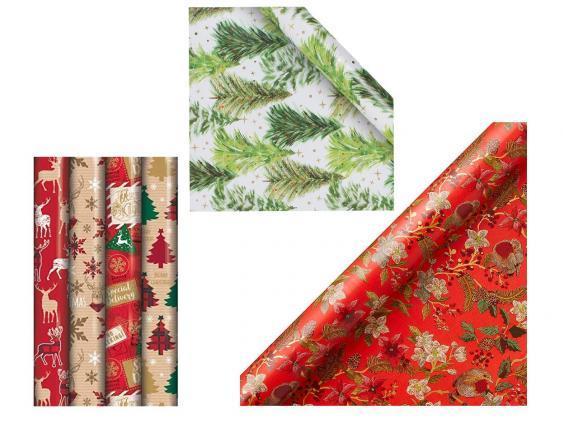 Eurowrap eight metre-long rolls of Christmas gift wrap, £9.99; Paperchase classic Christmas tree wrapping paper, £3.75; John Lewis & Partners Ruby tapestry gift wrap, £5.
