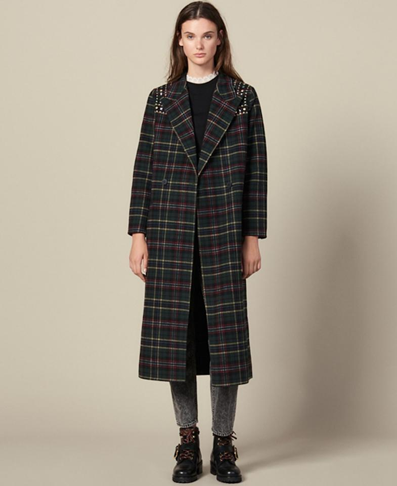 "Keep it cool yet classy with a plaid coat your punk-rock teenage self would've loved to own. $745, Bloomingdale's. <a href=""https://www.bloomingdales.com/shop/product/sandro-tiles-embellished-wool-blend-coat?ID=3450293"">Get it now!</a>"