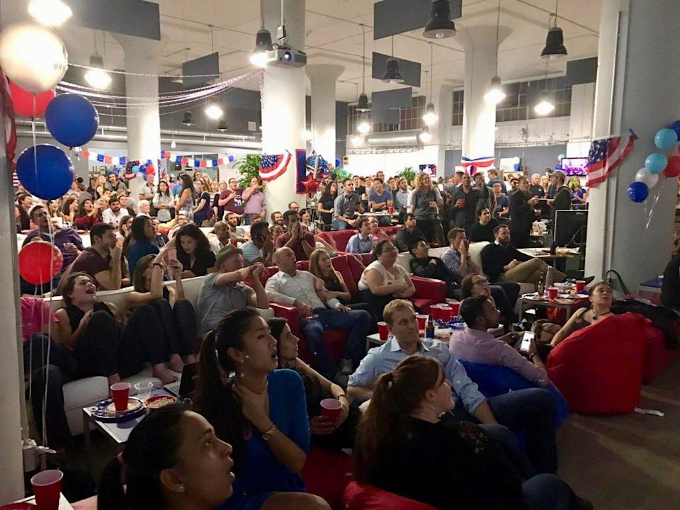 Over 500 people turned up for the election night viewing party held by Sean Parker's civics-focused startup Brigade, based in San Francisco. The last of the crowd filtered out around 12:30 a.m. following Donald Trump's victory speech. Source: Brigade