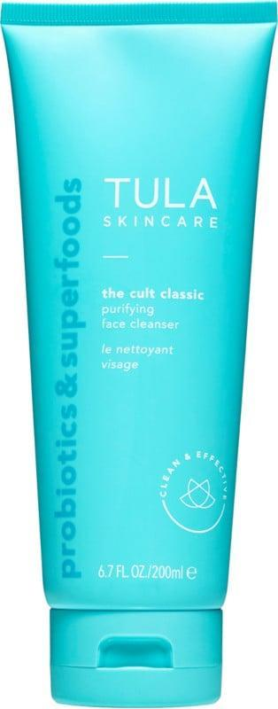 """<p><strong>Item:</strong> <span>Tula The Cult Classic Purifying Face Cleanser</span> ($10)</p> <p><strong>What our editor said:</strong> """"I discovered the brand Tula when I was a junior in college. I had a friend who was very <a href=""""https://www.popsugar.com/beauty/editor-acne-confessions-47492775"""" class=""""link rapid-noclick-resp"""" rel=""""nofollow noopener"""" target=""""_blank"""" data-ylk=""""slk:open about her struggle with acne"""">open about her struggle with acne</a> and had documented her skin progress while using the regimen of products on Instagram. That was all of the convincing I needed to give it a try - after all, nothing was working on my hormonal acne. I still remember the day when bought my first bottle of the Tula cleanser off Amazon and threw out my other face washes as soon as it arrived. Years later, I've gone through countless bottles of the stuff. </p> <p>What I first loved - and still do - about the cleanser is how gentle it is on the skin. With my combination skin type, most cleansers were either too harsh and drying or not effective enough. I can use it morning and night and it still doesn't leave my skin feeling parched or tight. It has a refreshing gel consistency that lathers into a light foam and removes makeup and dirt from the face with ease. It's loaded with good-for-you ingredients like chicory root to calm inflammation, turmeric root and blueberries for antioxidants, lactic acid to gently exfoliate, and the brand's signature probiotics."""" - JH</p> <p>If you want to read more, here is <a href=""""https://www.popsugar.com/beauty/tula-cult-classic-purifying-face-cleanser-review-47551666"""" class=""""link rapid-noclick-resp"""" rel=""""nofollow noopener"""" target=""""_blank"""" data-ylk=""""slk:the complete review"""">the complete review</a>.</p>"""