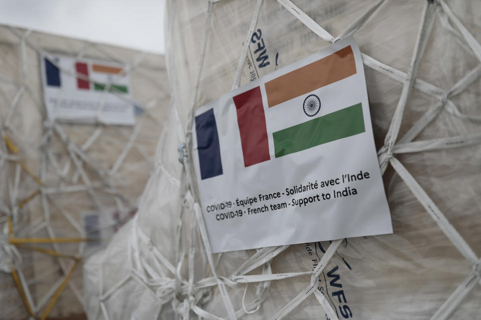 Medical supplies and relied materials to be sent to India are pictured at Roissy airport, north of Paris, Saturday, May 1, 2021. France sends oxygen respiratory equipment and generators to India to help the country deal with the serious COVID-19 crisis. (AP Photo/Lewis Joly, Pool)