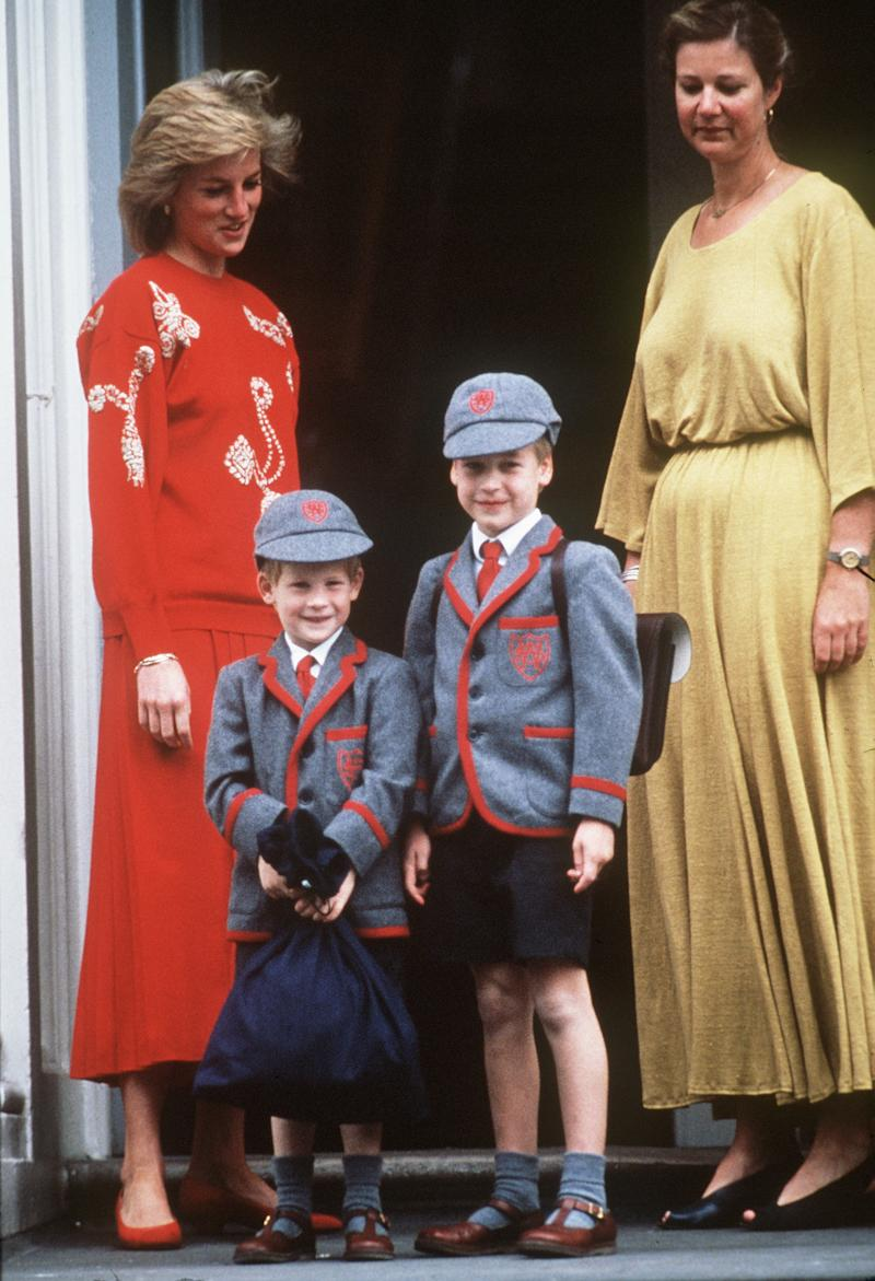 LONDON - SEPTEMBER 12: Princess Diana with her sons Prince William and Prince Harry at Wetherby School on September 12, 1989 in London, England. It is Prince Harry's first day at school. (Photo by Anwar Hussein/WireImage)