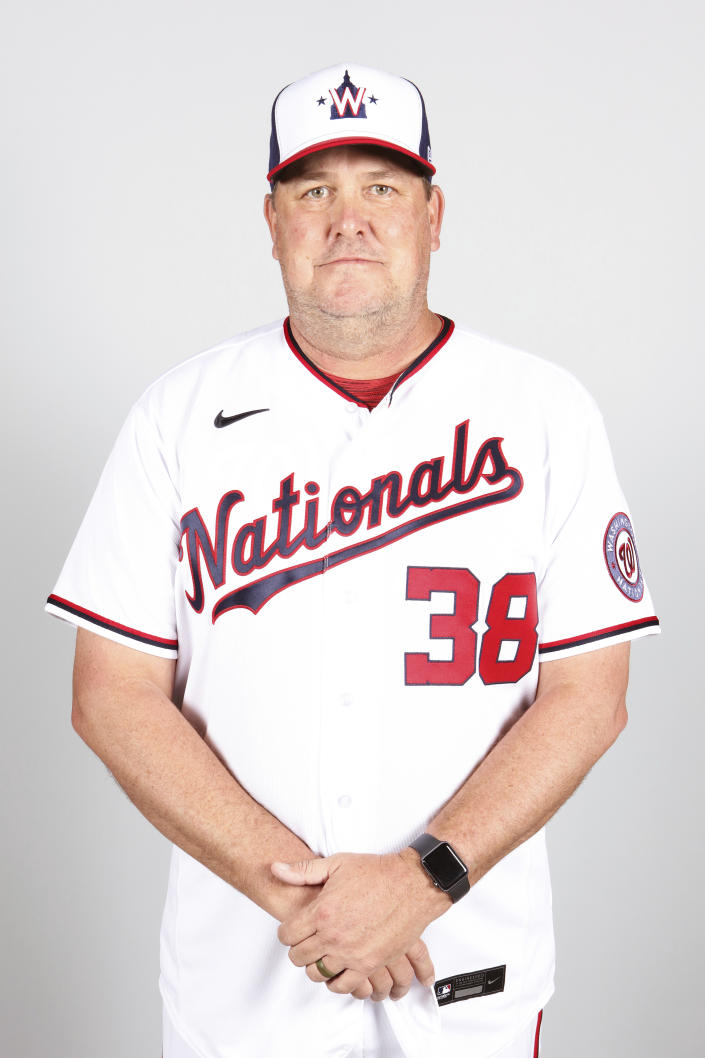 This is a 2021 photo of Brad Holman of the Washington Nationals baseball team. This image reflects the Washington Nationals active roster as of Friday, Feb. 26, 2021 when this image was taken. (Mary DeCicco/MLB Photos via AP)