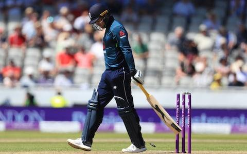 Jason Roy is dismissed at Old Trafford - Credit: PA