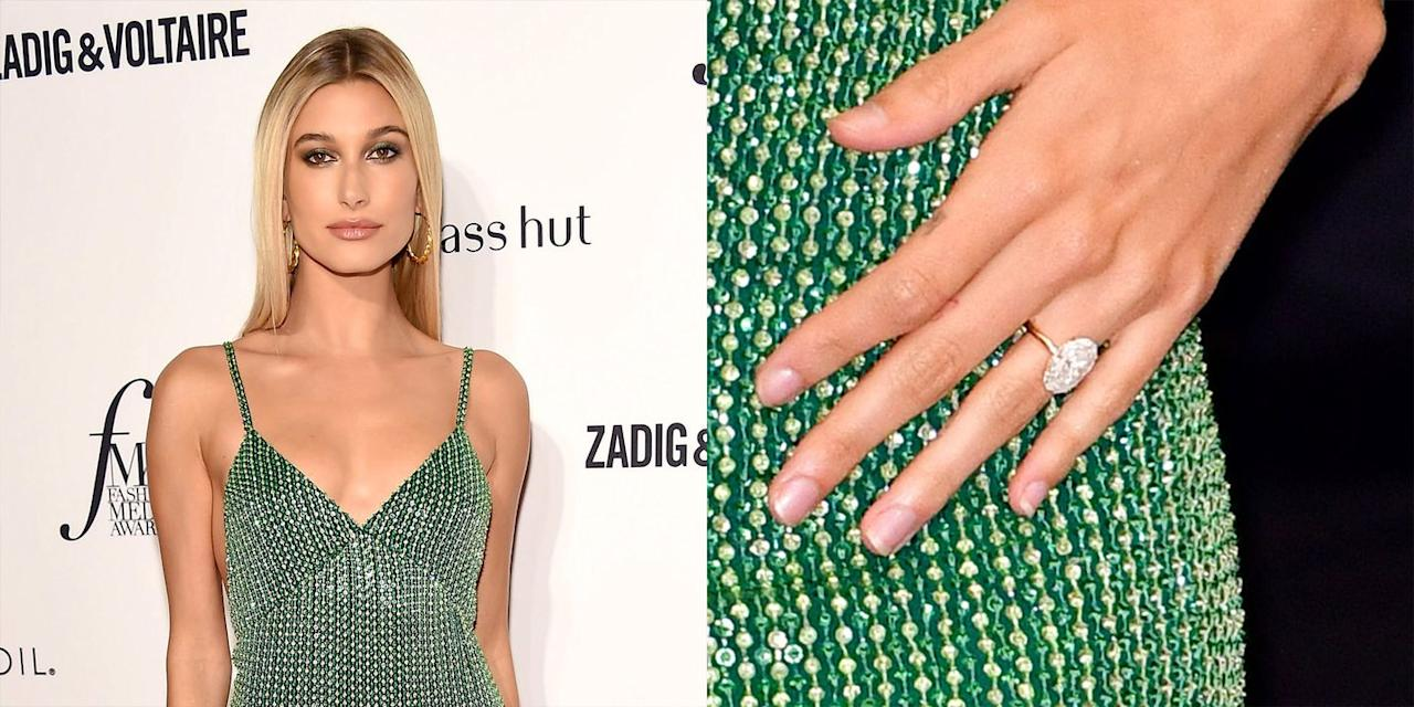"<p>For those who are unaware, Hailey Baldwin and Justin Bieber got engaged after the two rekindled their romance during the summer of 2018 (the pair previously dated in 2015). Her oval-shaped diamond set on a gold band  <a rel=""nofollow"" href=""https://www.cosmopolitan.com/entertainment/celebs/a22140441/justin-bieber-hailey-baldwin-engagement-ring-hands/"">has an estimated worth of $500,000</a> and was made in just a couple of weeks. </p>"