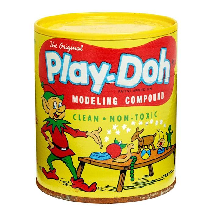 """<p><a class=""""link rapid-noclick-resp"""" href=""""https://www.amazon.com/Play-Doh-Modeling-Compound-Exclusive-Non-Toxic/dp/B00JM5GW10/ref=sr_1_1_sspa?tag=syn-yahoo-20&ascsubtag=%5Bartid%7C10063.g.34738490%5Bsrc%7Cyahoo-us"""" rel=""""nofollow noopener"""" target=""""_blank"""" data-ylk=""""slk:BUY NOW"""">BUY NOW</a><br></p><p>Before it got its name, Play-Doh was actually wallpaper cleaner. Joe McVicker discovered how much kids loved to play with it, because clay was too hard to handle. He quickly realized that it was more useful as a toy than for cleaning wallpaper. In 1956, every store was selling the tin can. Additional colors were later developed besides the original red, blue, and yellow. Now, you can get Play-Doh in 50 different colors.</p>"""