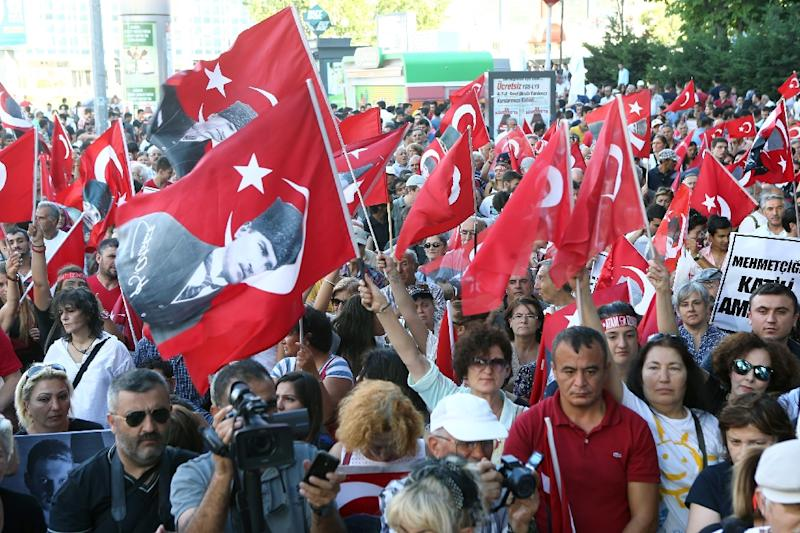 Demonstrators march in Kzlay Square in Ankara to protest against terrorist attacks and the PKK (Kurdistan Workers' Party) on August 30, 2015