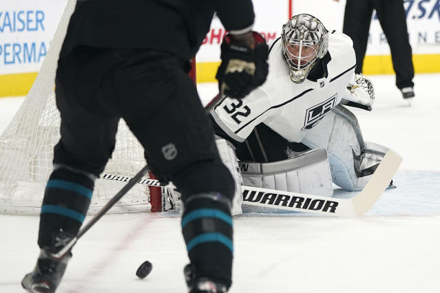 Los Angeles Kings goaltender Jonathan Quick (32) protects the goal against the San Jose Sharks during the first period of an NHL hockey game in San Jose, Calif., Friday, Nov. 29, 2019. (AP Photo/Tony Avelar)