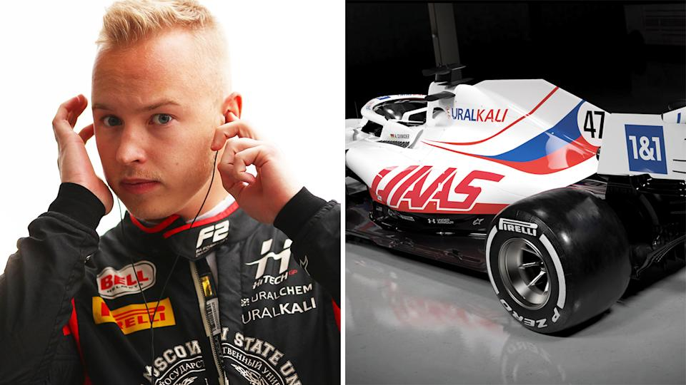 The Haas F1 team's new Russian-inspired livery, thanks to rookie driver Nikita Mazepin's sponsorship backing, has attracted scrutiny from WADA over a ban on any Russian athletes competing under the nation's flag. Pictures: Getty Images/Haas F1/Facebook