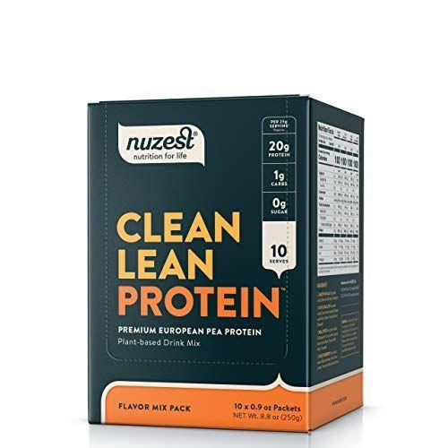 """<p><strong>NuZest</strong></p><p>amazon.com</p><p><strong>$35.00</strong></p><p><a href=""""https://www.amazon.com/dp/B06X18TWWW?tag=syn-yahoo-20&ascsubtag=%5Bartid%7C10055.g.35084321%5Bsrc%7Cyahoo-us"""" rel=""""nofollow noopener"""" target=""""_blank"""" data-ylk=""""slk:Shop Now"""" class=""""link rapid-noclick-resp"""">Shop Now</a></p><p>Nuzest's line of Clean Lean Protein is void of artificial sweeteners and has only minimal ingredients even in its flavored varieties. They come in a <a href=""""https://www.amazon.com/Nuzest-Clean-Lean-Protein-Naturally/dp/B00YOFVZNS?tag=syn-yahoo-20&ascsubtag=%5Bartid%7C10055.g.35084321%5Bsrc%7Cyahoo-us"""" rel=""""nofollow noopener"""" target=""""_blank"""" data-ylk=""""slk:standard protein powder tub"""" class=""""link rapid-noclick-resp"""">standard protein powder tub</a> or opt for <strong>little portable individual packets that you can pack when you're on-the-go. </strong>This pack also offers a variety of flavors so you can test out which one you like best. Complete with all nine essential amino acids, this option features pea protein isolate as the star ingredient.</p>"""